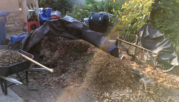 Wood chip pile and mess was unsightly